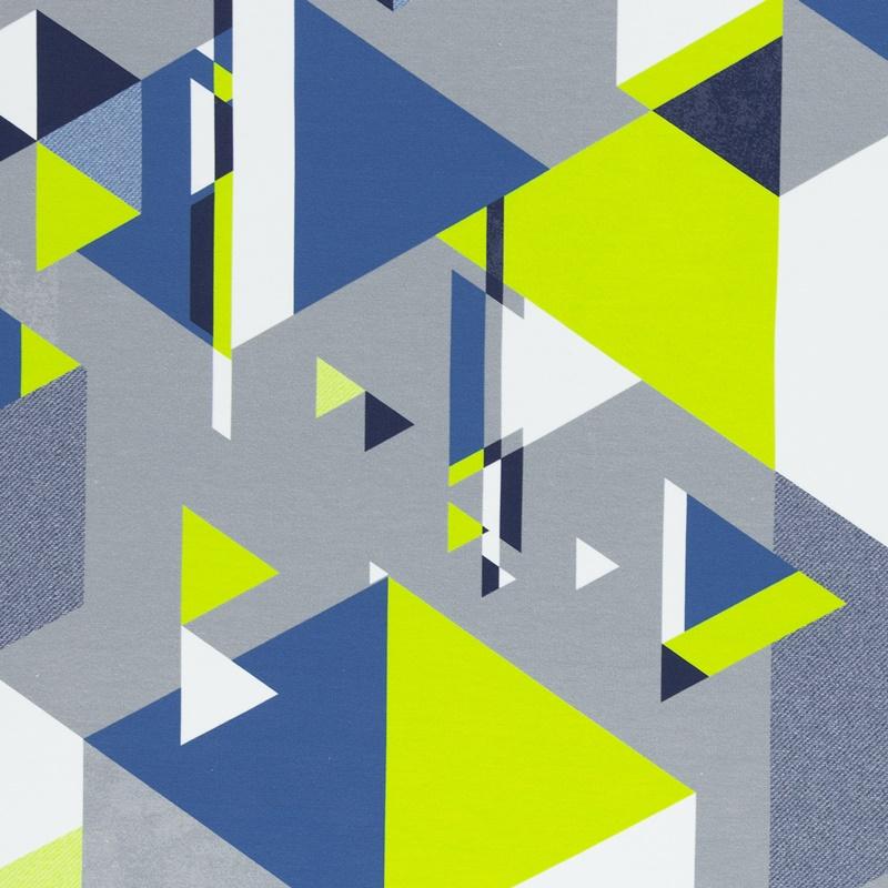 Sommersweat - Swafing - Streetstyle by Lycklig Design - Dreiecke in Grün- und Blautönen