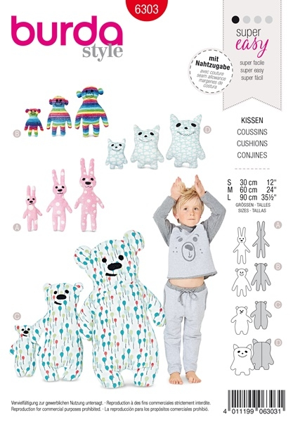 Burda 6303 Schnittmuster Motiv - Kissen – Hase – Affe – Bär – Monster -  Level 1 super easy