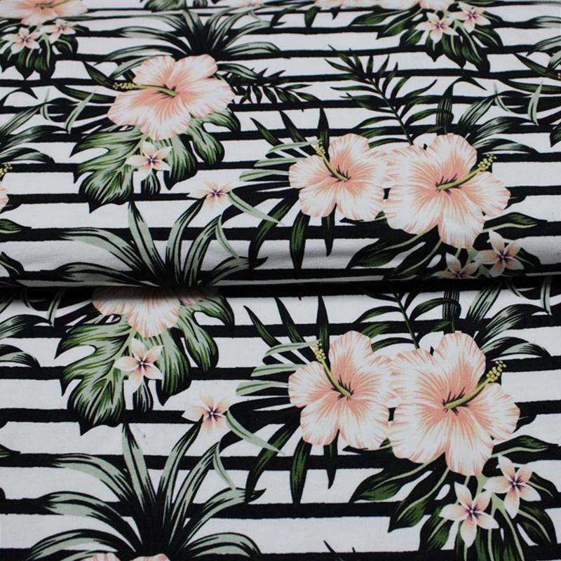 French Terry -Tropical Flowers by Schnuckidu - Eigenproduktion Reststück 130cm x 150cm