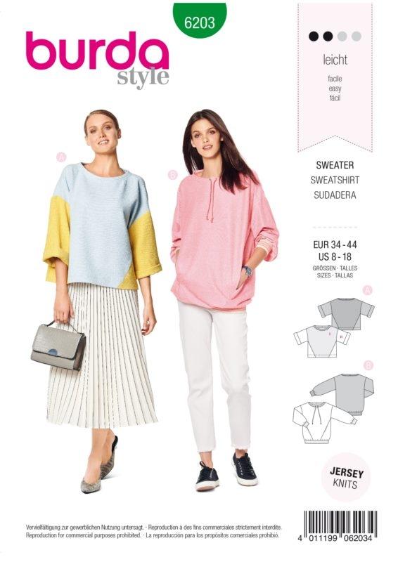 Burda Style 6203 Schnittmuster - Sweater- Damen 34 - 44 - Level 2 Leicht