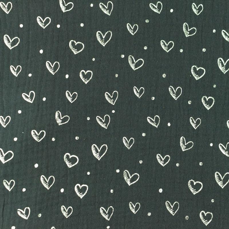 Musselin - Double Gauze - Mullstoff - Herzen in Silber auf Grau