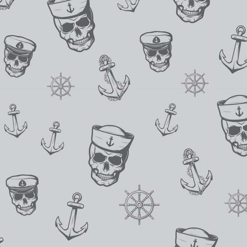 Baumwolljersey - Jersey Stoff - Motivjersey - Maritim - Skulls und Anker auf Hellgrau