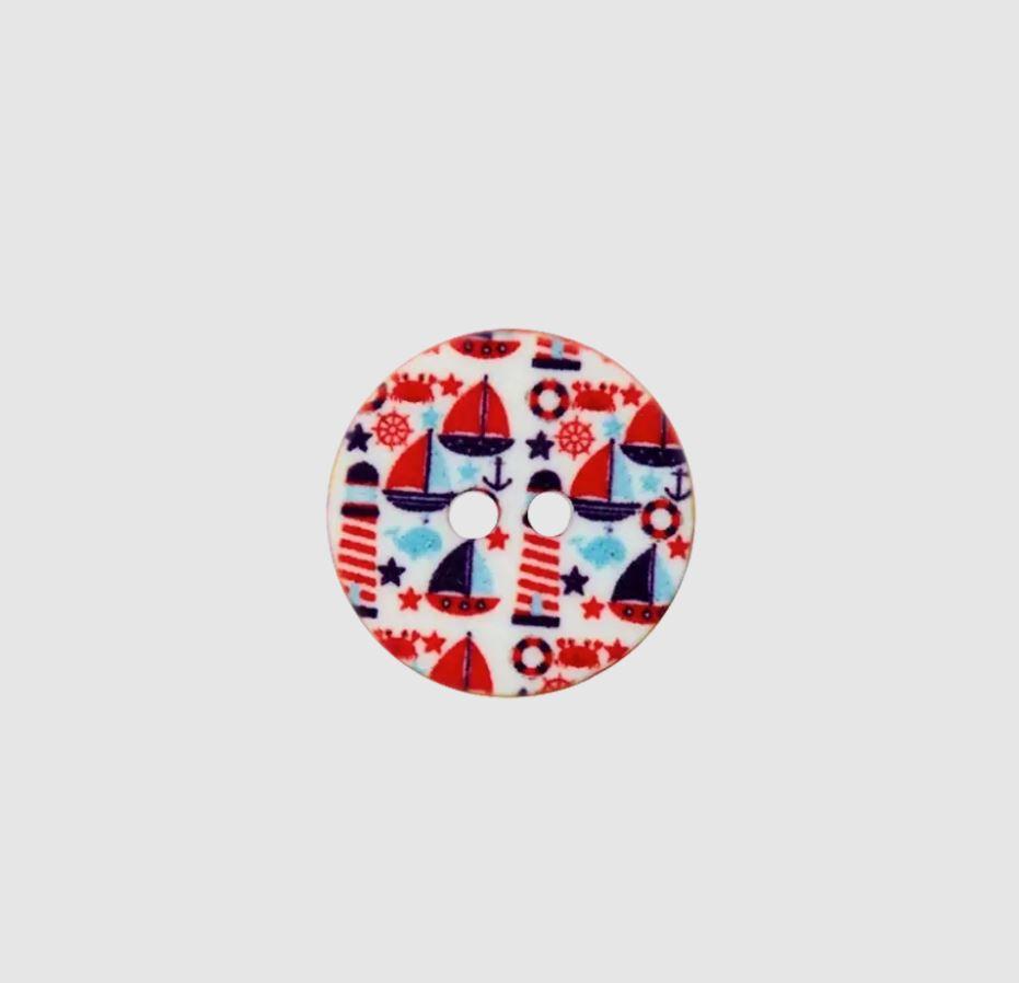 Knopf - Polyesterknopf - 2 Loch - 15mm -  Maritim - Motive auf Weiß