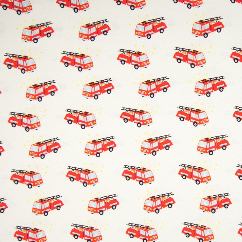 Baumwolljersey - Jersey Stoff - Feuerwehrautos auf Weiß