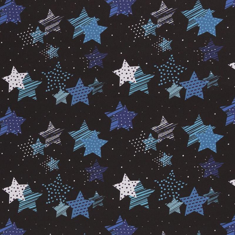 Softshell - Motiv Softshell - Swafing - Fiete - Sterne in Blautönen auf Schwarz
