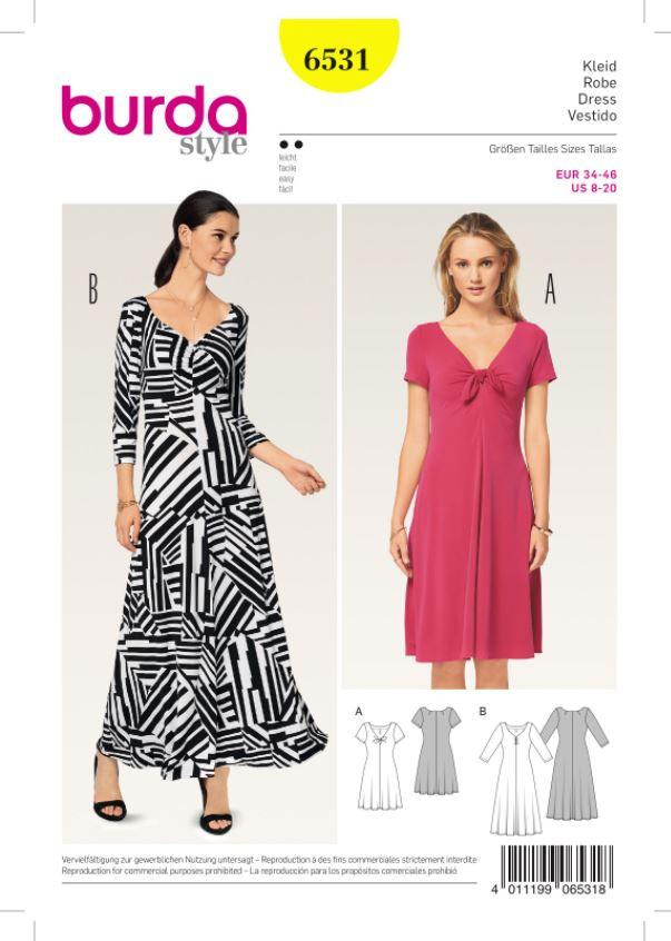 Burda 6531 Schnittmuster Shirt-Kleid Jersey-Kleid (Damen, Gr. 34 - 46) Level 2 leicht