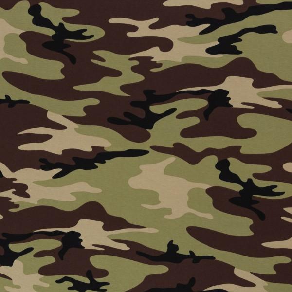 Baumwolljersey - Jersey Stoff - Motivjersey - Swafing - Vera - Camouflage Khaki