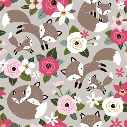 Softshell - NANO-Softshell - Füchse und Rosen auf Hellgrau