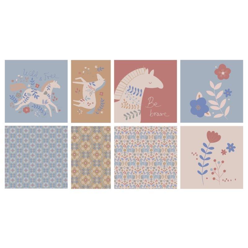 Katia Fabrics - Baumwoll Stoff - Panel - Horses Countryside - Panel für vier Kissen