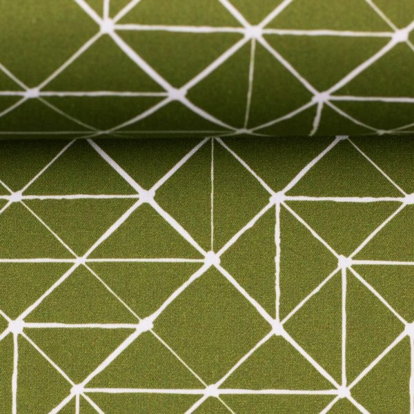 Baumwolle - Baumwoll Stoff - Kurt - Geometrisches Muster in Weiß auf Khaki