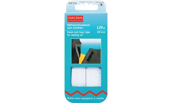 Haftverschlussband zum annähen 20 mm 1,20 cm weiß