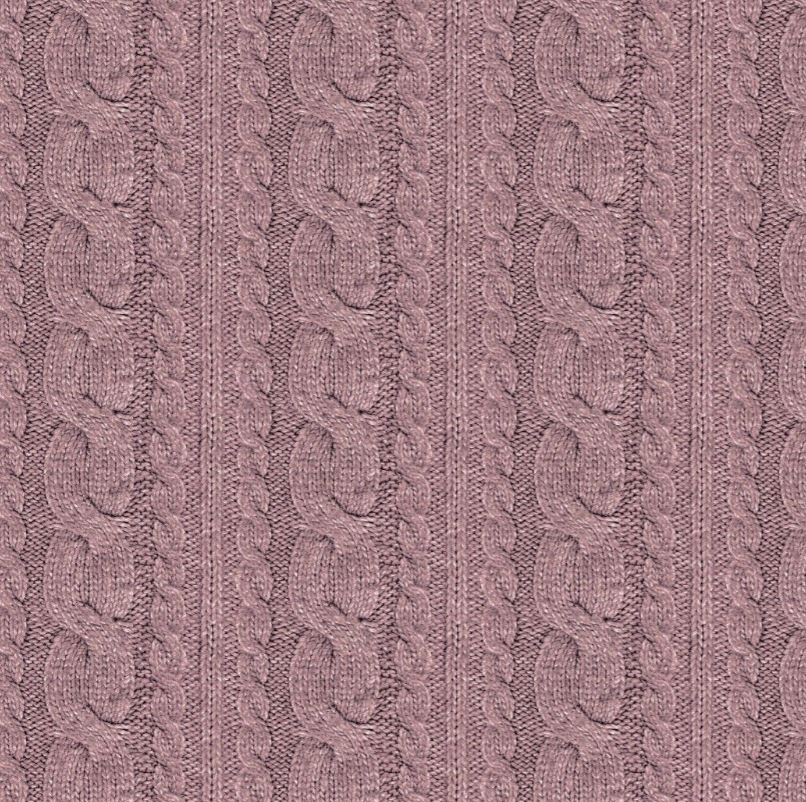 Sommersweat Stoff - French Terry - Digitaldruck - Zopfstrickmuster - Dunkles Altrosa