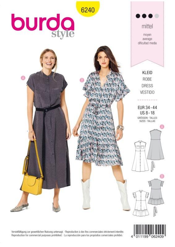 Burda Style 6240 Schnittmuster - Kleid - Damen 34 - 44 - Level 3 Mittel