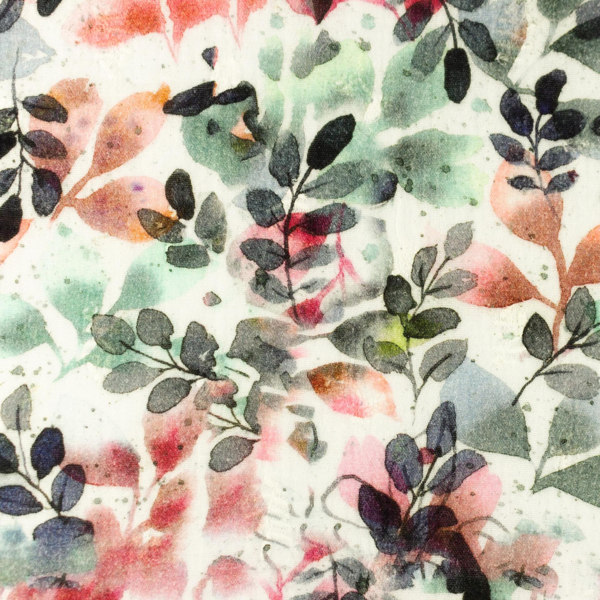 Musselin - Double Gauze - Digitaldruck - Bunte Blätter auf Offwhite