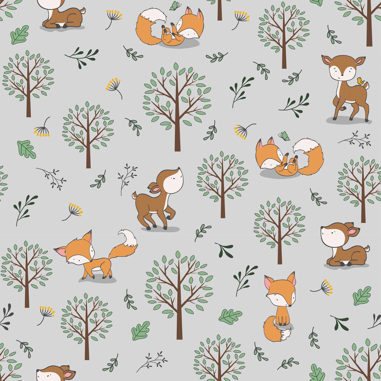 Baumwolljersey - Jersey Stoff - Füchse und Rehe im Wald auf Hellgrau