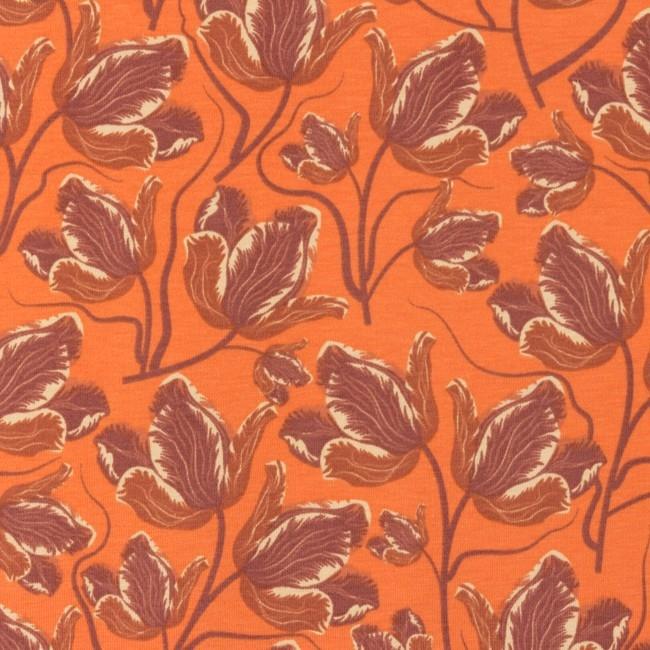 Jersey - Baumwoll Jersey - Motiv - Jersey Nelke Orange