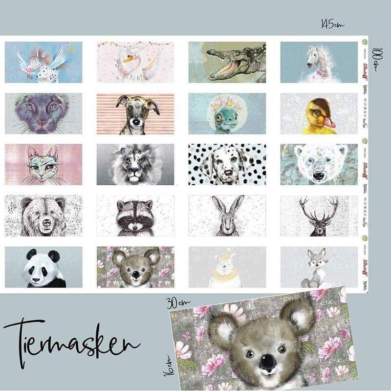 Lillestoff Panel für 20 Tiermasken für Mundbedecker - Panel ca. 100cm x 140cm