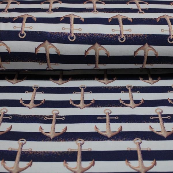 Eigenproduktion - Jersey - Motivjersey - Anker gestreift - Navy Weiß Reststück 150cm x 145cm