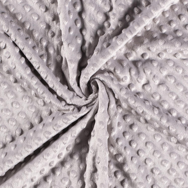 Kuschelfleece Stoff - Noppen - Uni - Grau