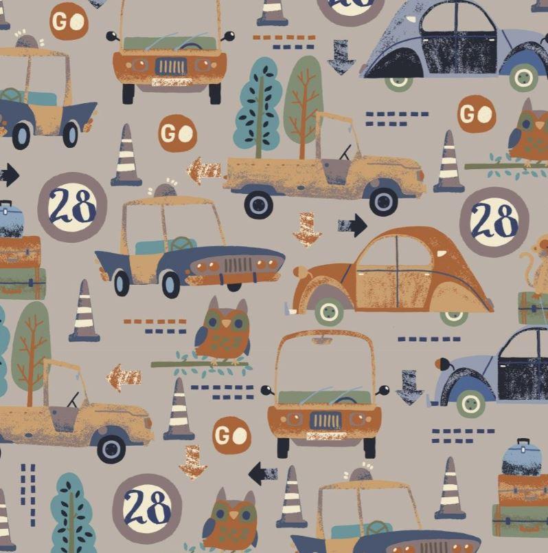 Baumwolljersey - Jersey Stoff - Motivjersey - Digitaldruck - Fahrzeuge und Tiere auf Taupe