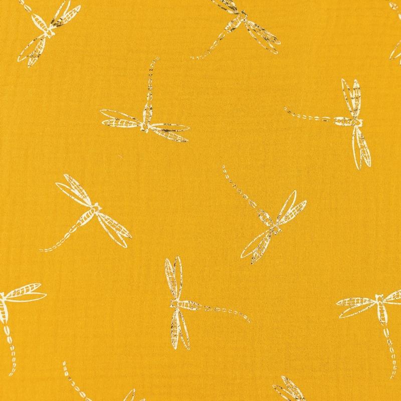 Musselin - Double Gauze - Mullstoff - Libellen in Gold auf Senf