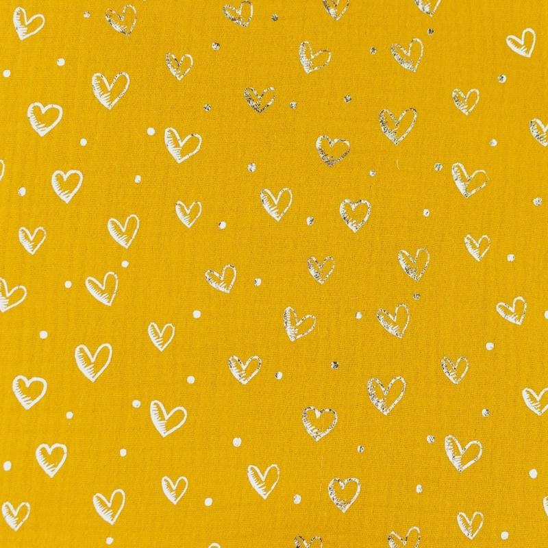 Musselin - Double Gauze - Mullstoff - Herzen in Silber auf Dunkelgelb