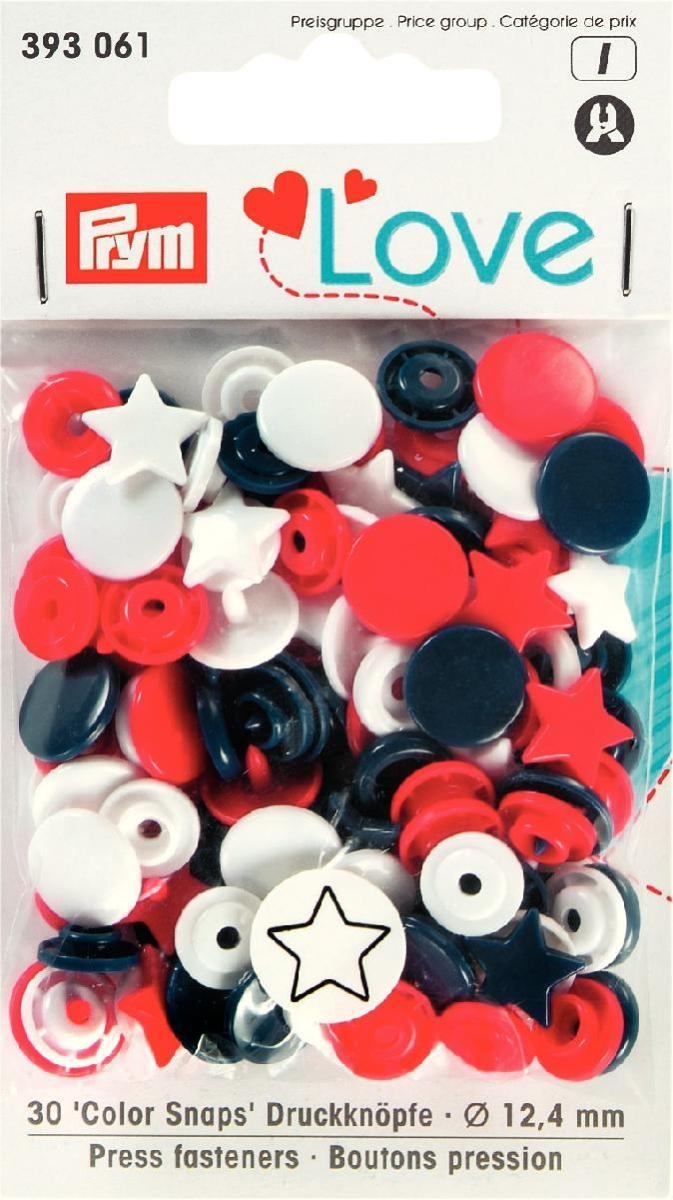 Druckknopf Color. Prym Love. Stern. 12.4mm. rot/weiß/marine  - 393061
