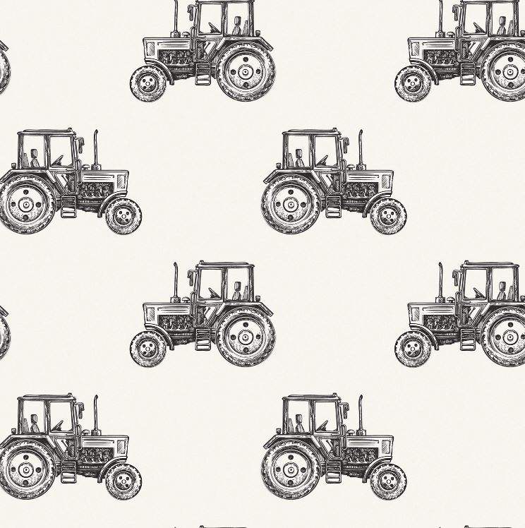 Baumwolljersey - Jersey Stoff - Traktoren in Schwarz auf Ecru