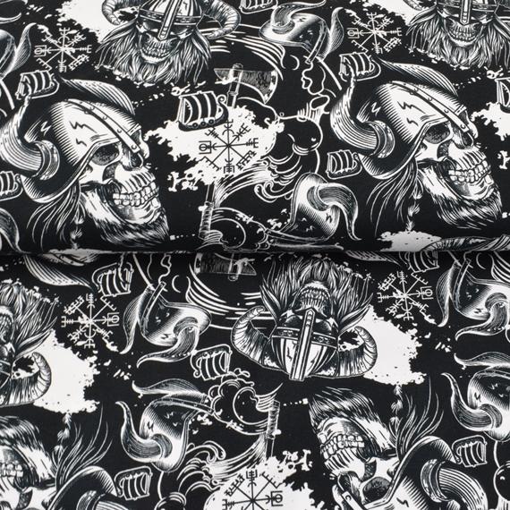 French Terry - Sommersweat Stoff - Motiv Sweat - Wikinger Totenköpfe auf Schwarz