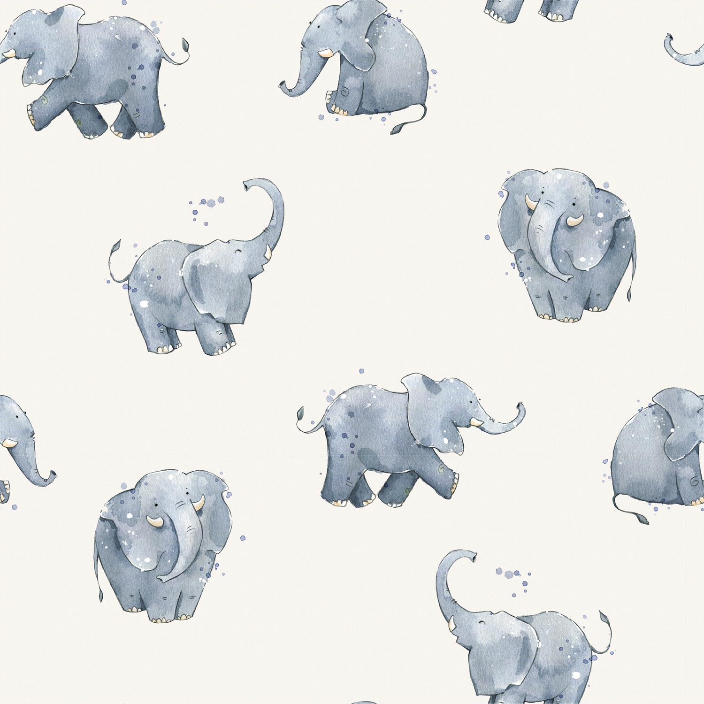 Baumwolljersey - Jersey Stoff - Aquarell Elefanten auf Ecru
