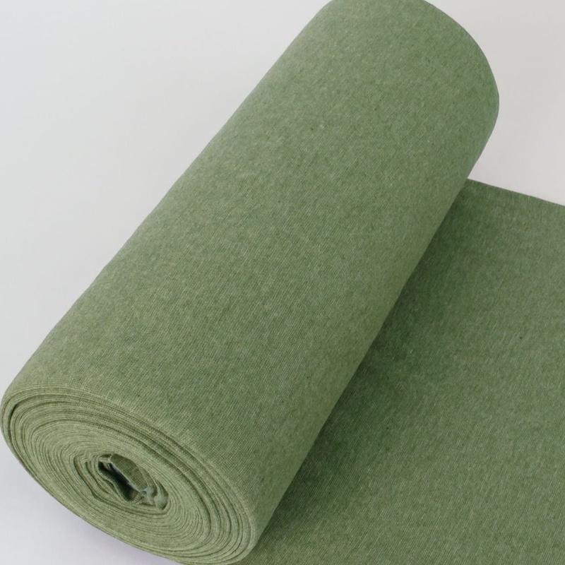 Bündchen Stoff Feinripp Uni - Grün Melange