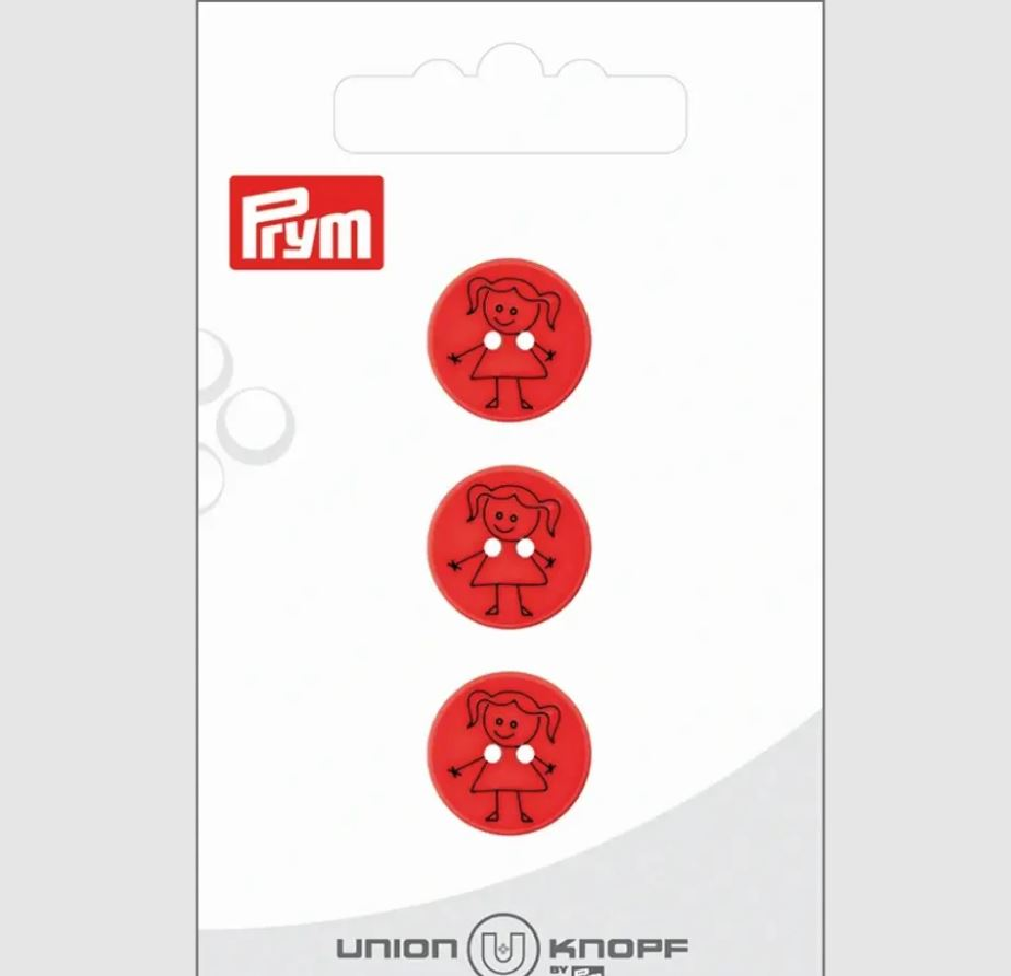 Knopf - Polyesterknopf - Knopf - 2 Loch - 15mm - Mädchen auf Rot - 3 Stück