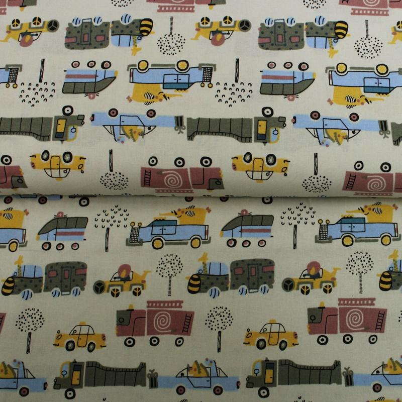 Baumwolle - Baumwoll Stoff - Fahrzeuge auf Hellgelb