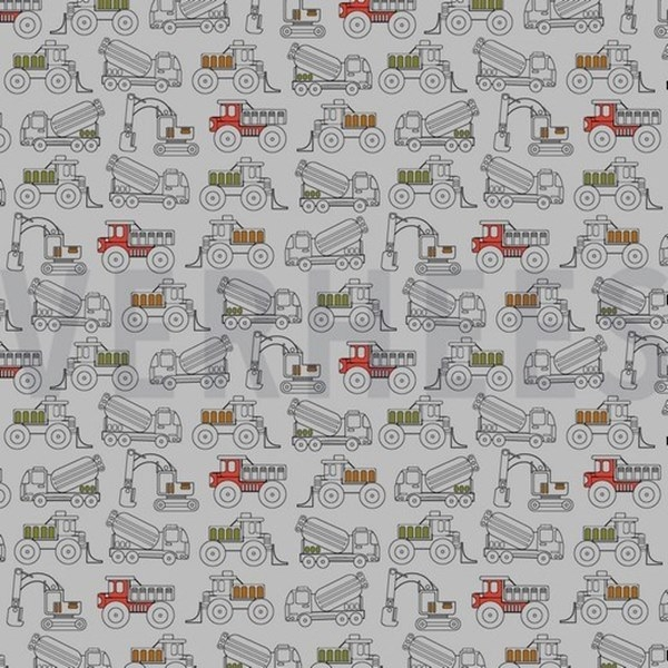 Baumwolljersey - Jersey Stoff - Motivjersey - Baustellenfahrzeuge auf Grau