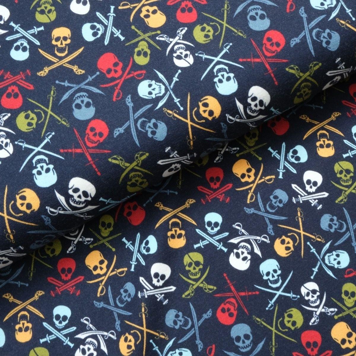 Baumwolljersey - Jersey Stoff - Motivjersey - Totenköpfe auf Navy