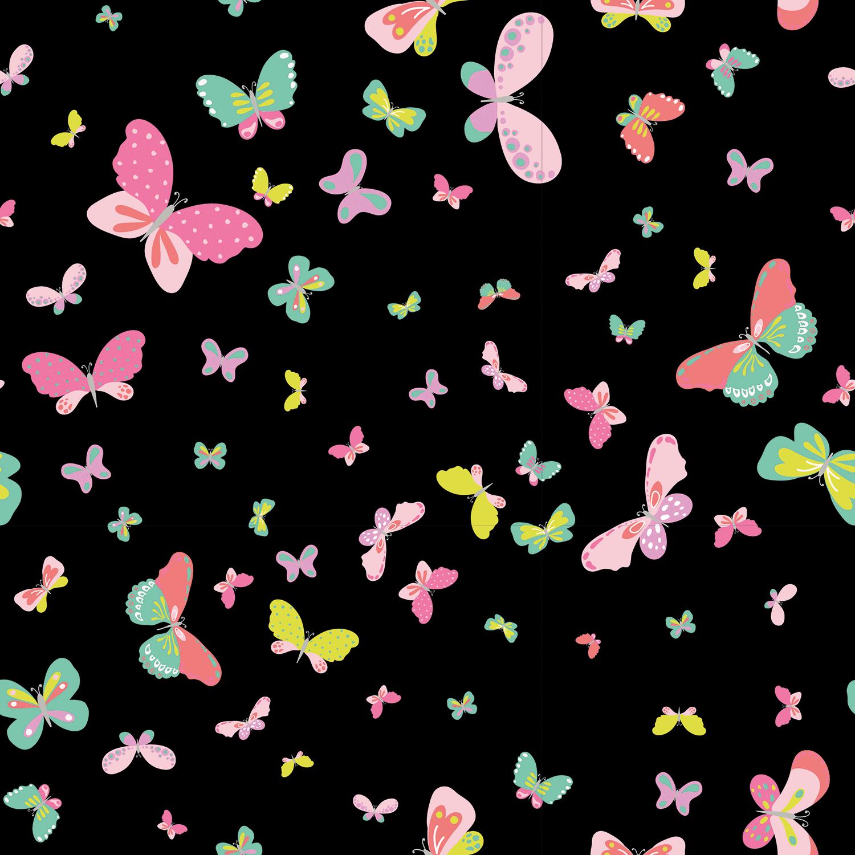Baumwolljersey - Jersey Stoff - Bunter Schmetterlinge auf Schwarz