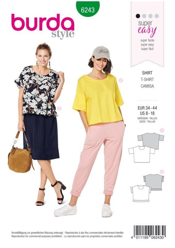 Burda Style 6243 Schnittmuster - Shirt - Damen 34 - 44 - Level 1 Super Easy
