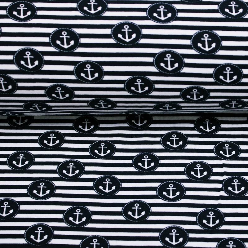 Jersey - Baumwolljersey Stoff - Motivjersey - Maritim - Anker in Navy auf Streifen