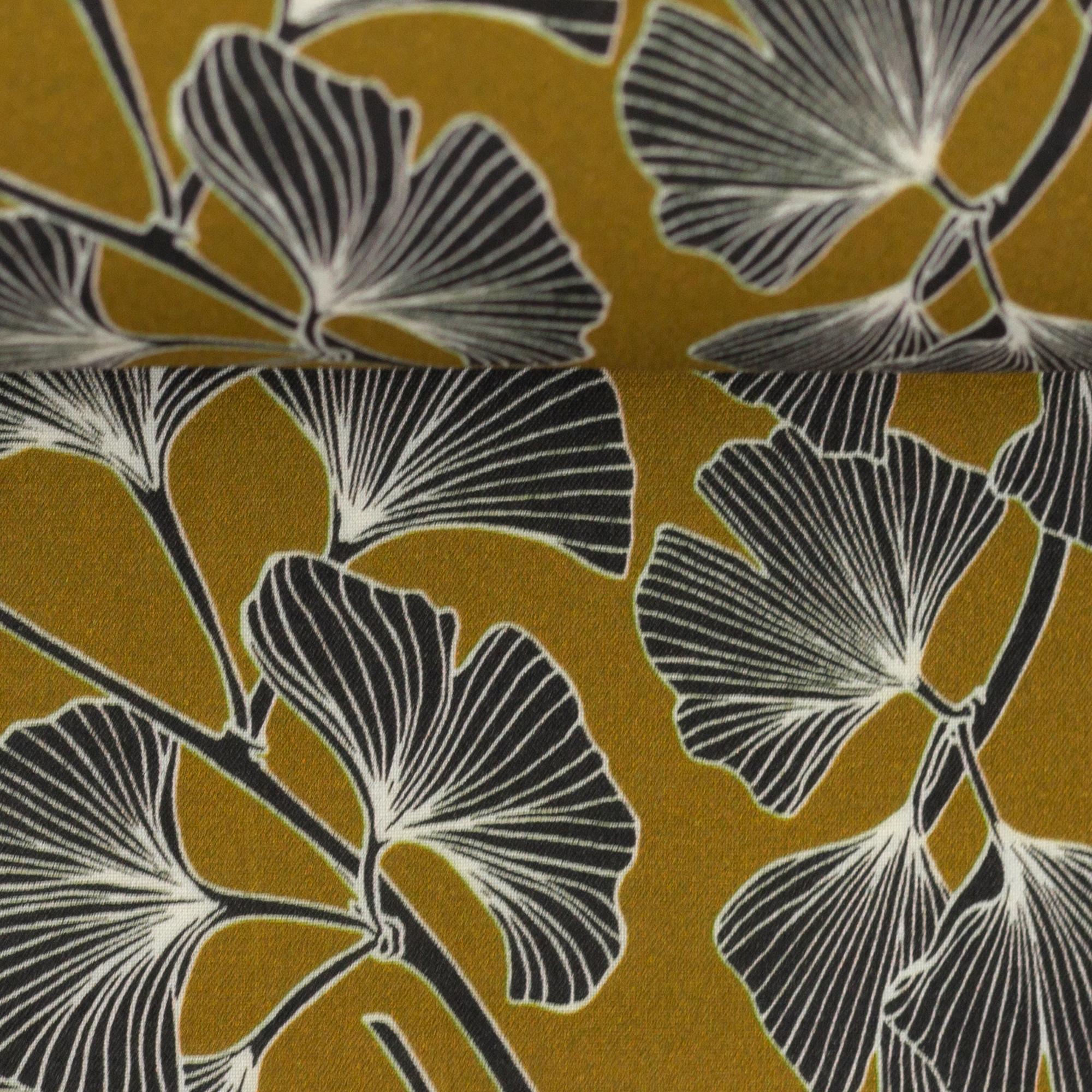Viskose - Viskosewebware - Swafing - Pauline - Ginkgoblätter auf Ocker