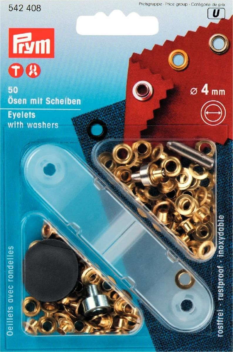 Ösen und Scheiben MS 4,0 mm goldfarbig