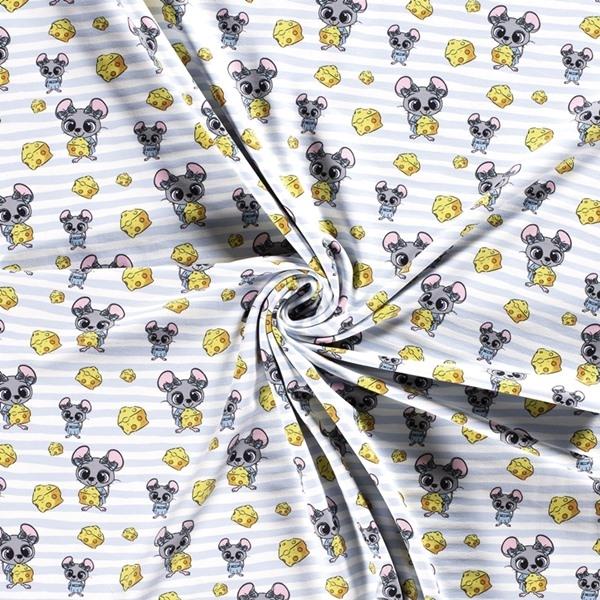 French Terry - Sommersweat Stoff - Motivsweat - Mäuschen mit Käse auf Streifen in Hellblau/Weiß