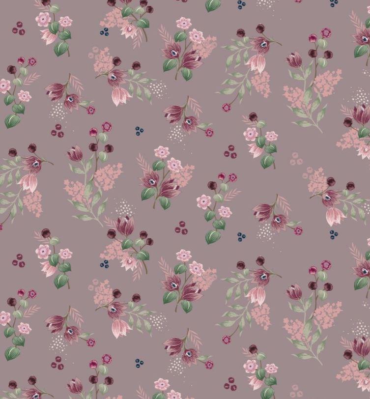 Baumwolljersey - Jersey Stoff - Motivjersey - Digitaldruck - Blüten und Beeren auf Dunkles Altrosa