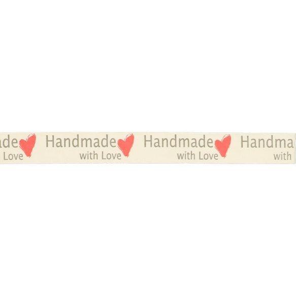 Dekoband - Webband - Hand Made with Love - Herz in Rot - 15mm - Ecru
