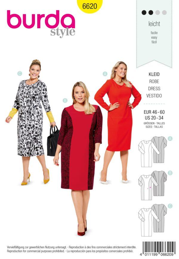 Burda 6620 Schnittmuster Kleid (Damen, Gr. 46 - 60) Level 2 leicht