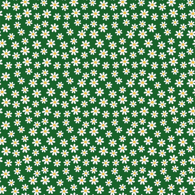 Baumwolljersey - Jersey Stoff - Gänseblümchen auf Dunkelgrün
