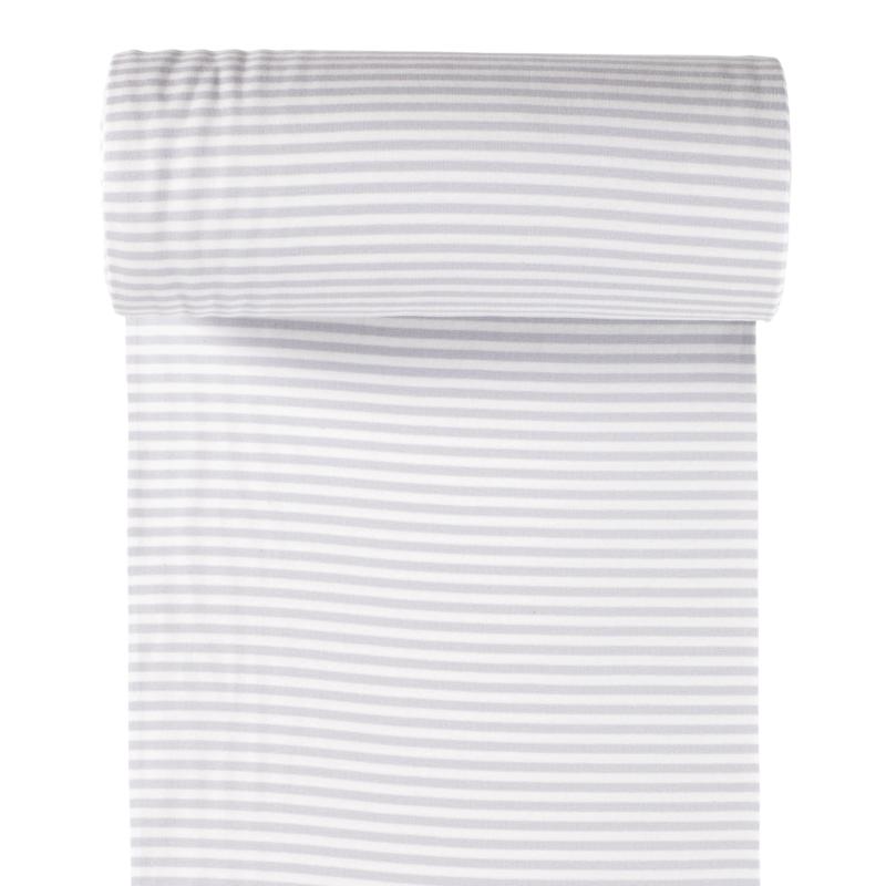 Ringelbündchen - Bündchen Stoff Glatt Streifen - Hellgrau/Weiß