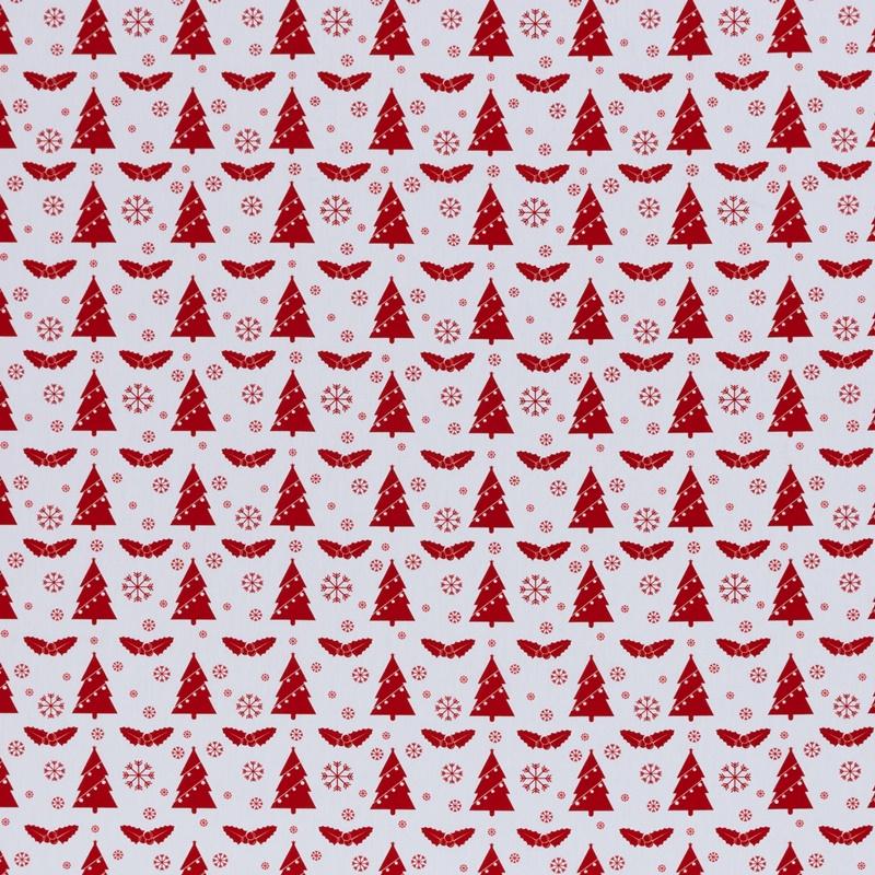 Webware - Baumwoll Stoff - Swafing - Joel - Tannenbäume und Schneeflocken in Rot auf Weiß