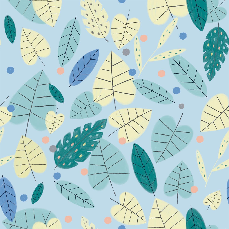 Katia Fabrics - Baumwoll Stoff - Baumwolle - Blätter auf Blau Reststück 130cm x 145cm