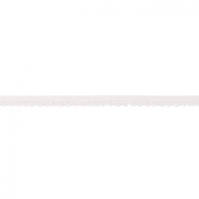 Elastische Spitze mit Bogenkante - 11 mm - Weiß