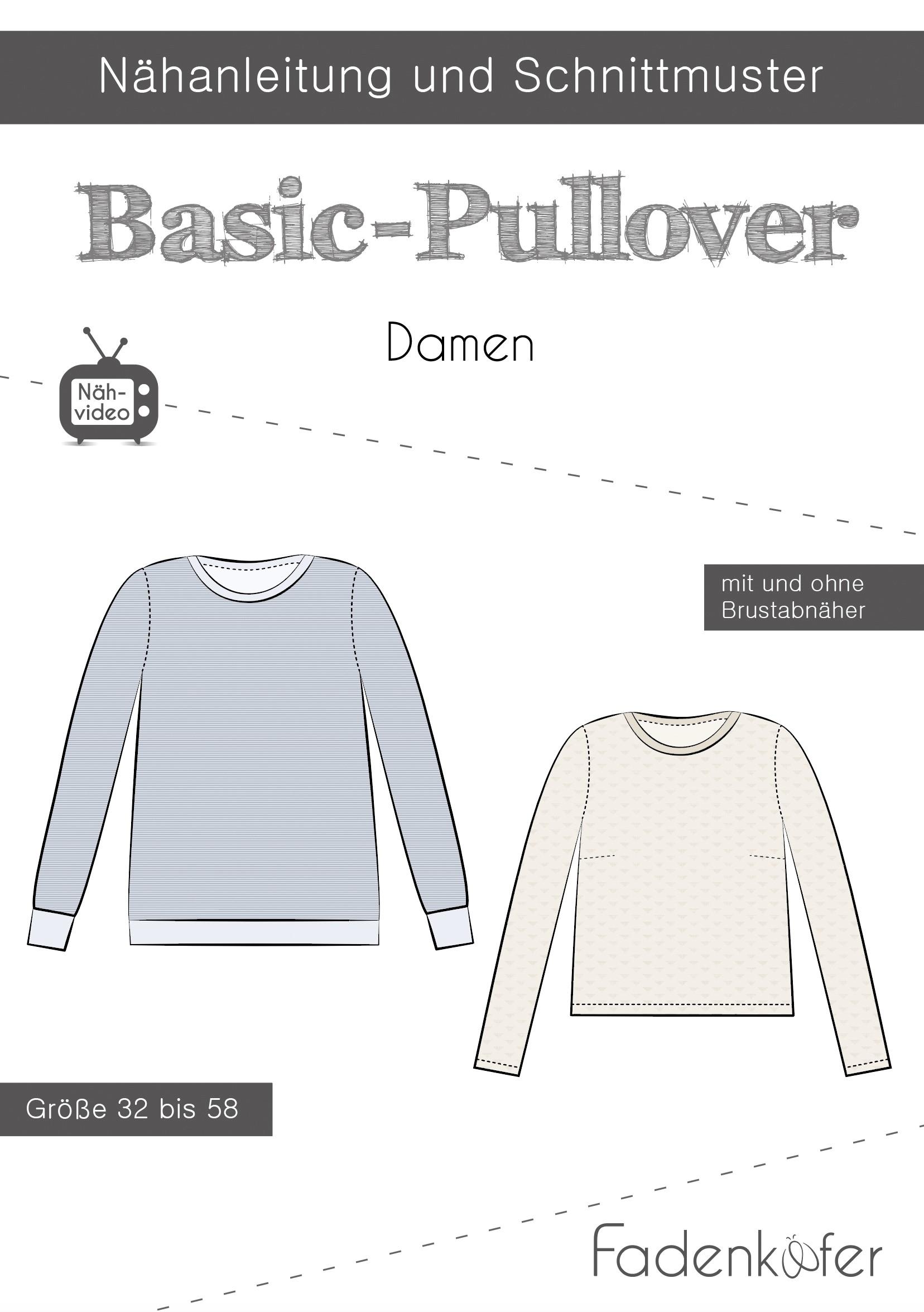 Papierschnittmuster Fadenkäfer - Basic Pullover Damen